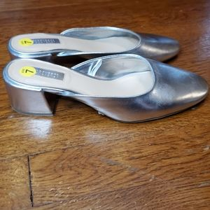 Silver slip on heeled mules Forever 21